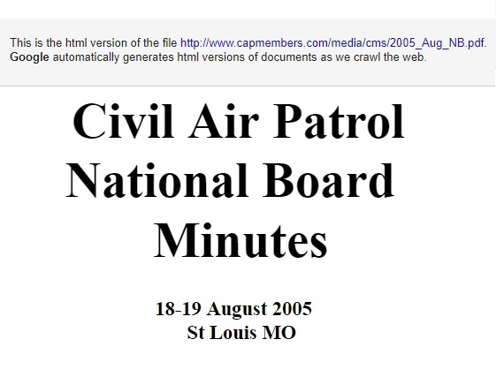 Published minutes of the 2005 Civil Air Patrol National Board Meeting in St Louis, MO