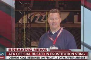 Air Force Academy athletics fundraiser Derm Coll arrested in prostitution sting.