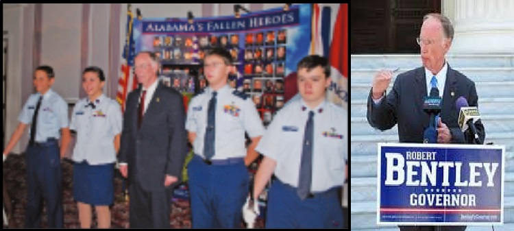 Civil Air Patrol's Robert J. Bentley using cadets of a color guard before his conviction.
