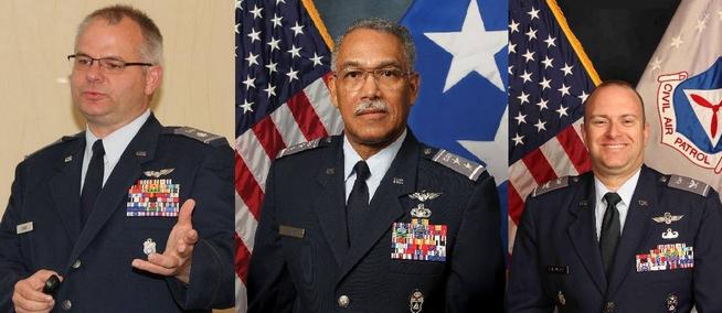 CAP Lt Col Jim Shaw, CAP Maj Gen Charles Carr & CAP Col Richard Greenwood