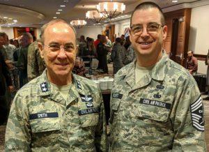 CAP Maj Gen Mark Smith and CAP Command CMSgt Dennis Orcutt, Jr