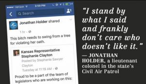 Kansas Civil Air Patrol Commander suggests female lawmaker should Swing from a Tree