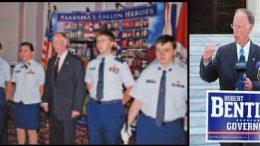 Civil Air Patrol's Robert J. Bentley using cadets of a color guard before his conviction.